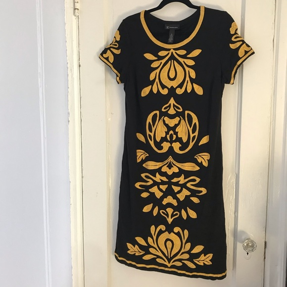 INC International Concepts Dresses & Skirts - EUC Embroidered Black & Yellow Dress